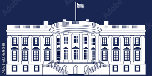 white silhouette white house isolated on blue background vector