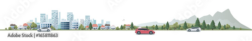Garden Poster Cartoon cars Urban Landscape Panorama Street Road with Cars and City Nature Background