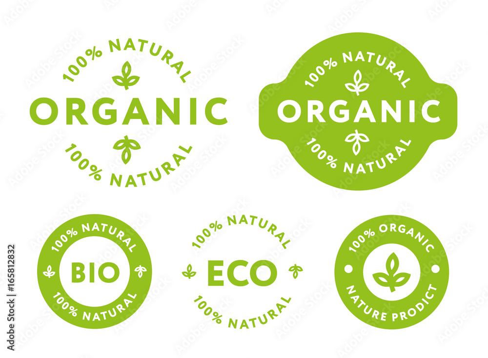 Fototapety, obrazy: Collection of Green Healthy Organic Natural Eco Bio Food Products Label Stamp.
