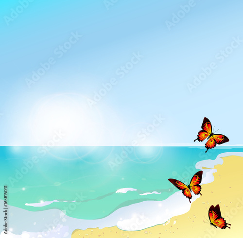 Papiers peints Avion, ballon summer time,beach, butterflies, blue sky