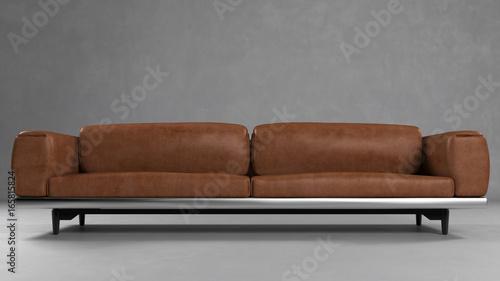 Braunes Sofa Aus Leder Vor Wand