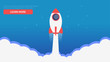 Site Page. A rocket flying out of the clouds.Learn more banner