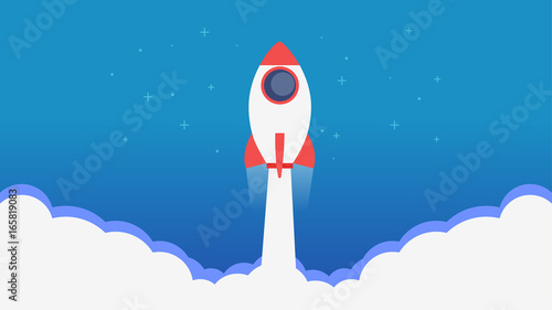 Fotografía  Site Page. A rocket flying out of the clouds.Learn more banner