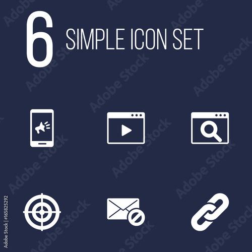 Fototapeta Set Of 6 Optimization Icons Set.Collection Of Magnifier, Warning, Dartboard And Other Elements. obraz na płótnie