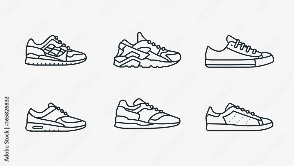 Fototapety, obrazy: Sneaker Shoe Minimalistic Flat Line Outline Stroke Icon Pictogram Symbol