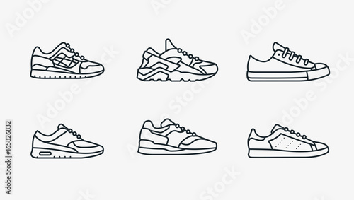 Sneaker Shoe Minimalistic Flat Line Outline Stroke Icon Pictogram Symbol Canvas Print