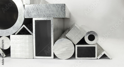 Foto op Aluminium Metal Different metal profiles