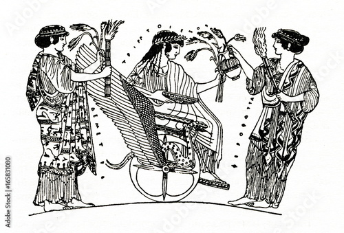 Photo Triptolemus siting in chariot drawn by dragons between Demeter (with ears) and P