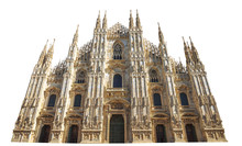 Front Side Of Gothic Cathedral In Piazza Duomo Of Famous Milan Dome In Italy Isolated On White Background And Copy Space. Fashion Capital Milano, Popular Landmark And City Icon.