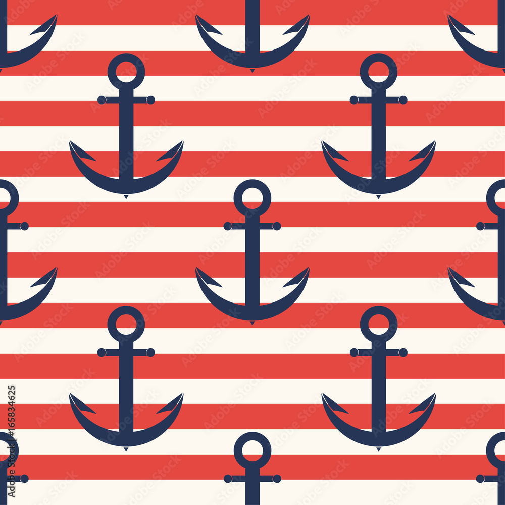 Marine pattern. Anchor, navy seamless pattern with stripes