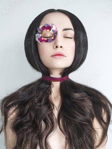 Fotografie, Obraz Unusual makeup with flowers