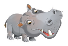 Cartoon Animal Hippo - Illustr...