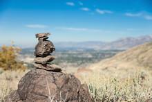 Stacked Rocks Trail Marker