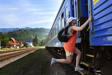 A Girl Late For A Train, Mountains, Tourism, Catch Up With A Trainmountains, Tourism