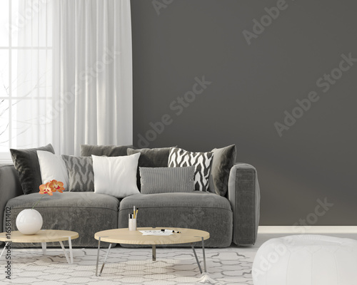 Fototapety, obrazy: Living room with a gray sofa