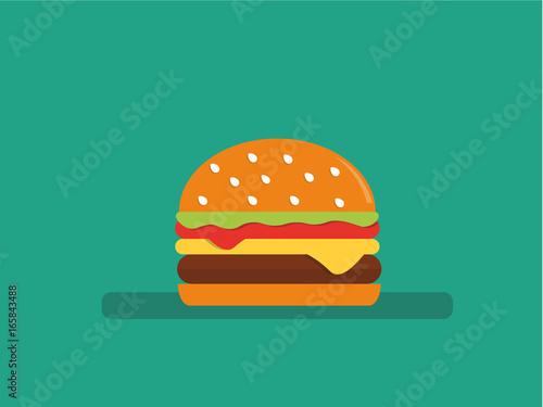 Photographie Flat style vector hamburger icon.