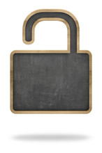 Blackboard In Open Padlock Shape Representing Public Domain