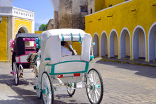 Carriages In The Street In Izamal