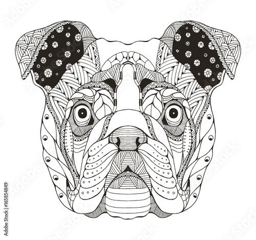 English Bulldog Head Zentangle Stylized Vector Illustration Pattern Anti Stress Coloring Book