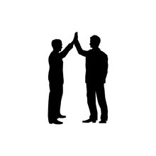 Business Collaboration Sign. Two Men Silhouette With High Five Gesture