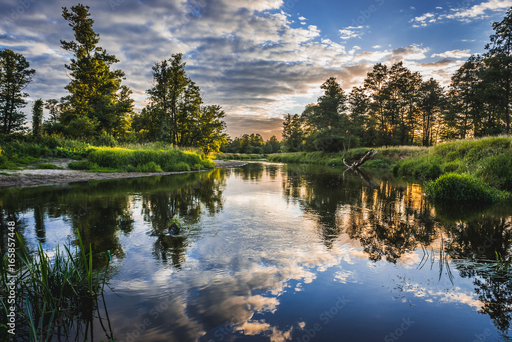 Fototapety, obrazy: Sunset over River Liwiec in Mazowsze region of Poland