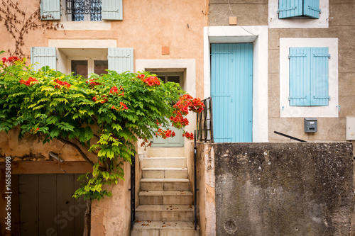 Typical traditional colors of facades of homes in Provence, Saint-Saturnin-les-Apt, Provence, France