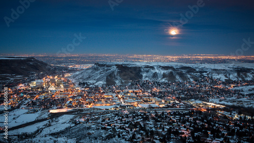 Poster Bleu nuit Golden Colorado Moonrise