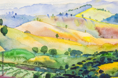 Fotobehang Zwavel geel landscape painting colorful of mountain and emotion in blue background
