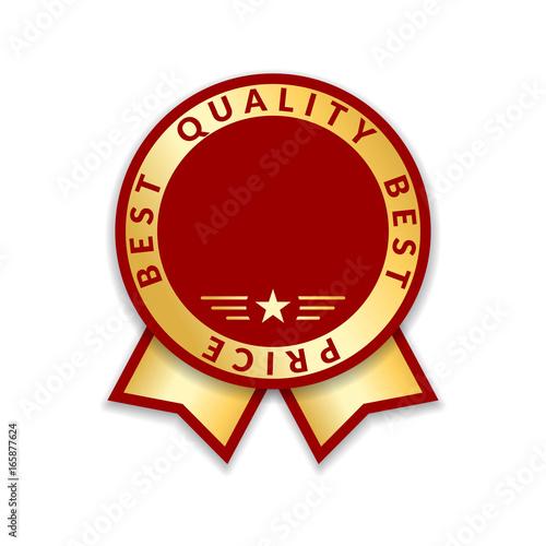 ribbon award best price label gold ribbon award icon isolated white