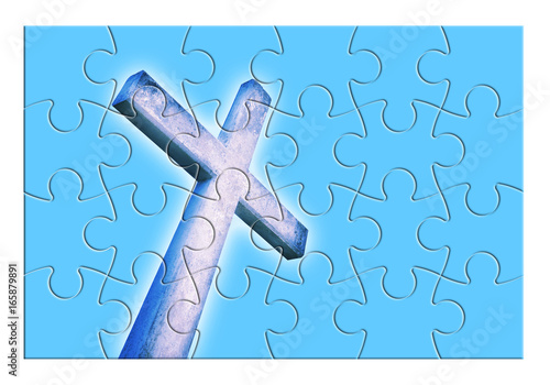 Rebuild or losing our faith - Christian cross concept image in jigsaw puzzle sha Tapéta, Fotótapéta