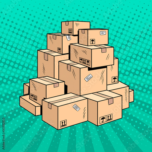 Obraz Boxes with goods pop art vector illustration - fototapety do salonu