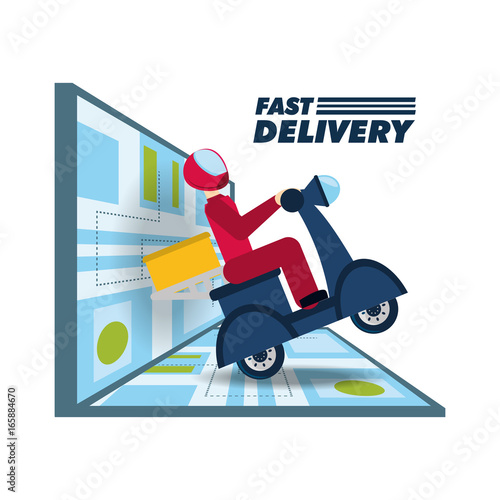 courier delivery with box package in the motocycle and map Canvas Print