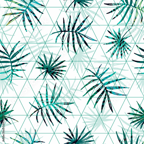 Fototapeta Seamless exotic pattern with tropical palm leaves on geometric background