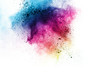 Painted powder explosion on white background. Multicolored dust explode for celebration or holiday design element.