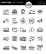 Modern grey tone thin line icons set of shopping & retail. Premium quality outline symbol set. Simple linear pictogram pack. Editable line series