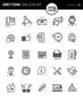 Modern grey tone thin line icons set of business contact. Premium quality outline symbol set. Simple linear pictogram pack. Editable line series