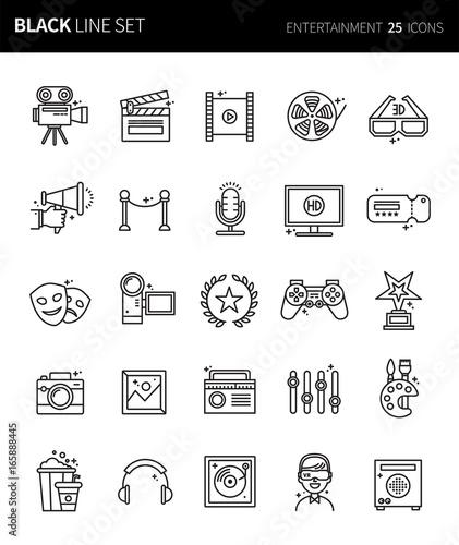 Modern Thin Black Line Icons Set Of Entertainment Premium Quality