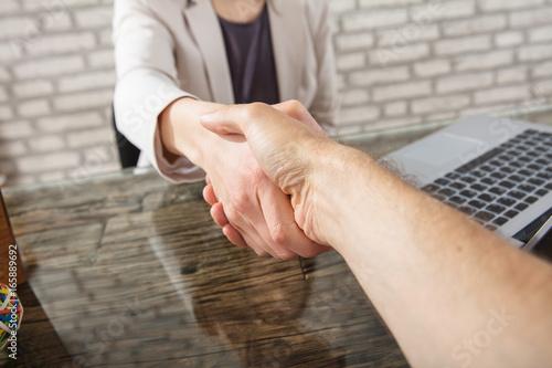 Poster de jardin Vache Two Business People Shaking Hands