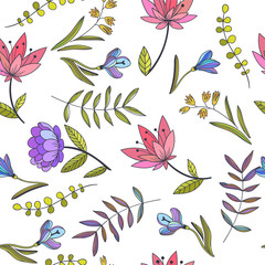 Fototapeta Inspiracje na wiosnę Vector seamless pattern with decorative flowers. Hand drawn botanical illustration. Ornamental floral texture