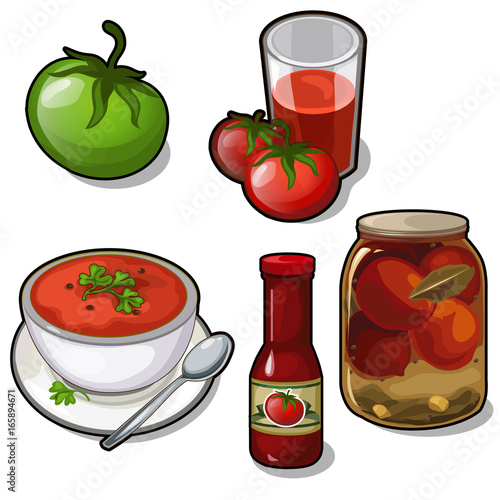 Set of different dishes of tomatoes - juice, soup, canned, ketchup isolated on white background. Five vector icons of food