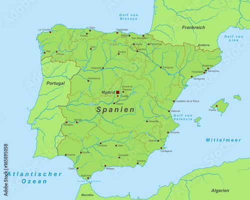 Spanien Landkarte In Grun Beschriftet Buy This Stock Vector