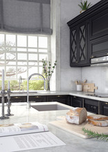 Classic Design Of Domestic Kitchen 3D Rendering