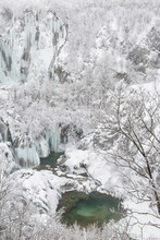Frozen Lakes And Waterfalls In...