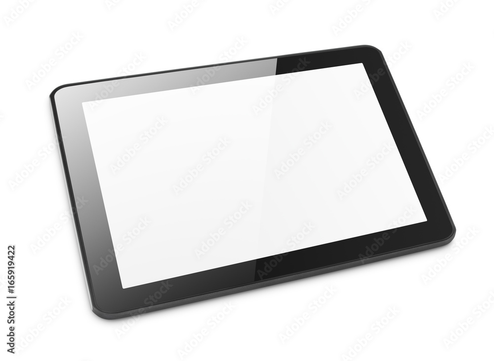 Fototapeta Modern black tablet computer isolated on white background. Tablet pc and screen with clipping path