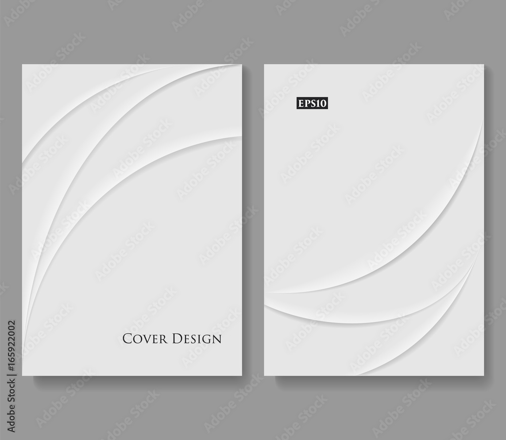 Fototapeta Set of Abstract Creased Paper Templates. White Minimal Vector Design with Copy Space.