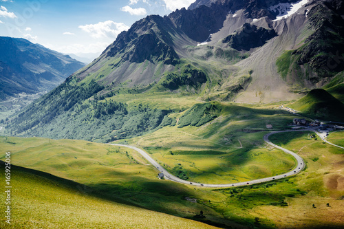 Serpentine mountain road. Col du Galibier, France