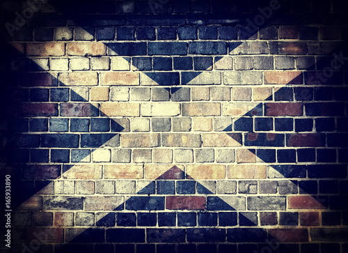 Grunge Scotland flag on a brick wall Tapéta, Fotótapéta
