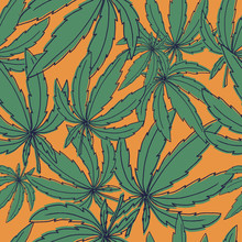 Seamless Vector Pattern With Marijuana Leaves On Orange For Wrapping, Wallpaper, Ceramic, Craft, Textile, Fabric