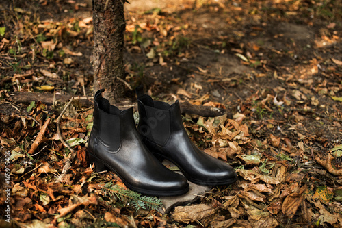 Photo  Black shiny leather women's chelsea boots on gray stone in a forest or park