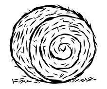 Rolled Hay / Cartoon Vector And Illustration, Black And White, Hand Drawn, Sketch Style, Isolated On White Background.